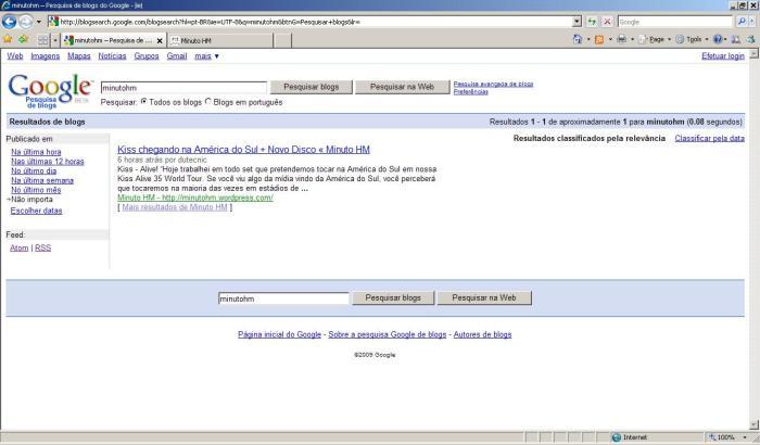 Minuto HM no Google Blog Search