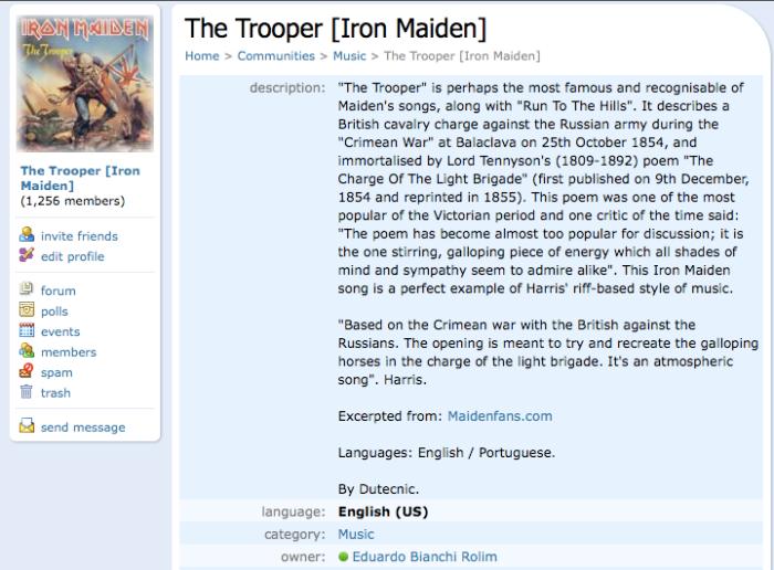 orkut: The Trooper [Iron Maiden]