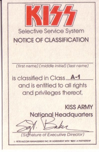 Kiss Army Membership Card - 1978