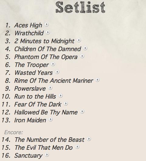 Setlist de toda a segunda e última perna da SBIT Tour '09