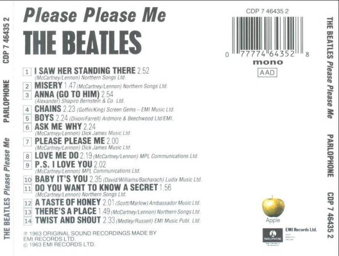 Contra-Capa do Please Please Me (já na versão em CD)