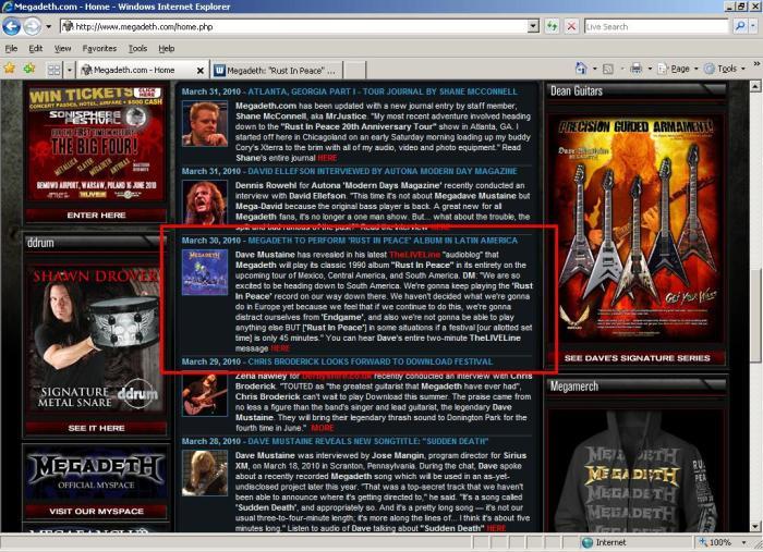 Megadeth - Site oficial