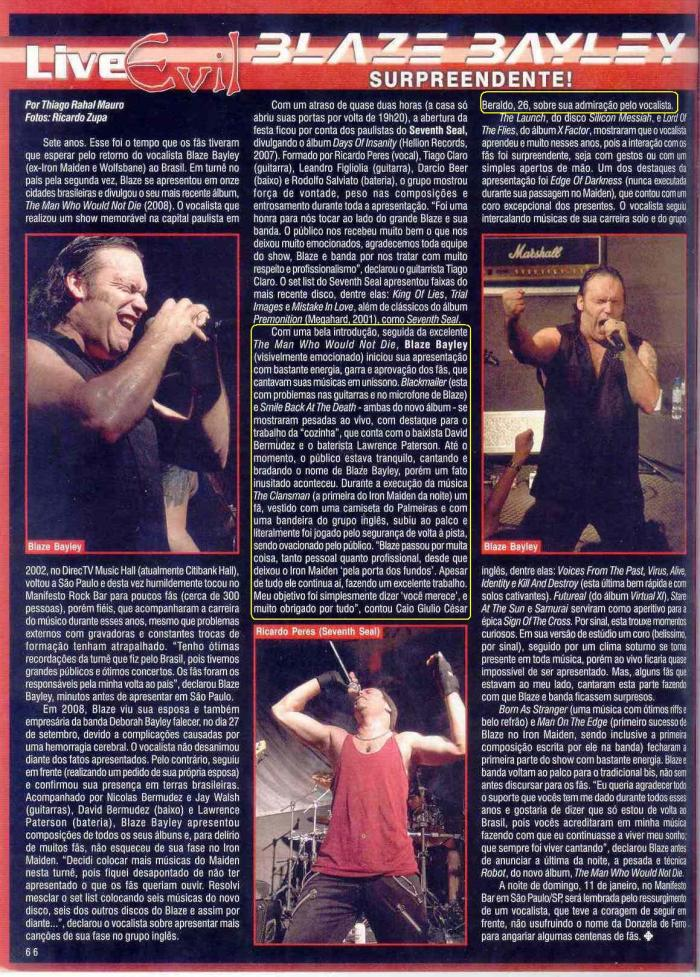 Revista Roadie Crew - show do Blaze em 2009 (SP)