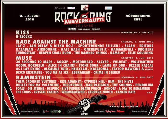 Bandas que se apresentarão no Rock Am Ring 2010