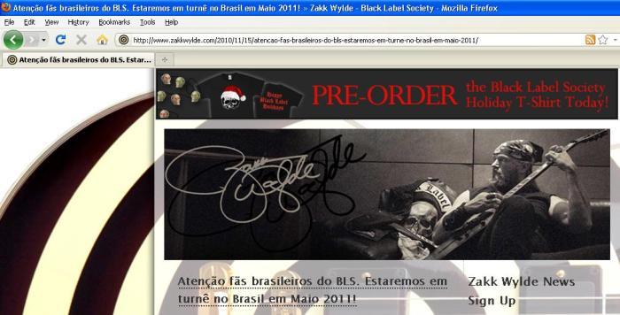 Site oficial do Zakk Wylde - 25/novembro/2010