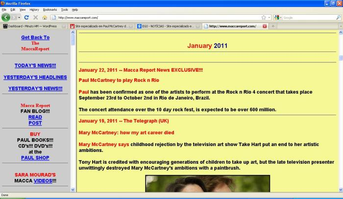 Tela que comprova (poderá ser histórica), no site Macca Report, a confirmação do show de Paul no Rock in Rio 4. Por enquanto, NADA OFICIALMENTE CONFIRMADO!!!