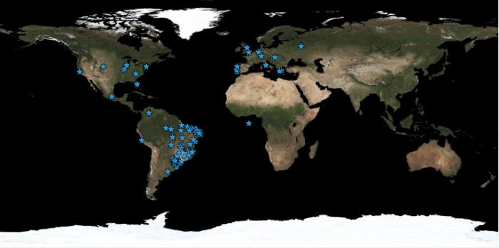 Whos.Amung.Us do Minuto HM: mapa normal - acessos pelo mundo das 22h40 de 22/março as 22h40 do dia 23/março/2011