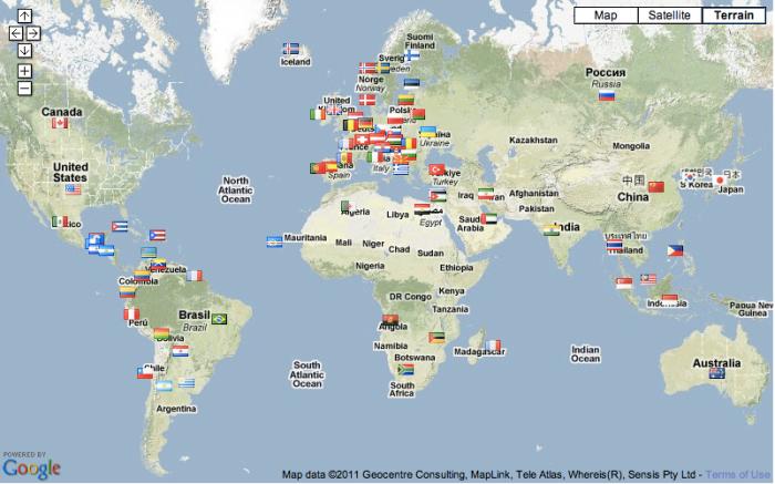 Bandeiras coletadas pelo Minuto HM em 2 meses - world domination? :-)