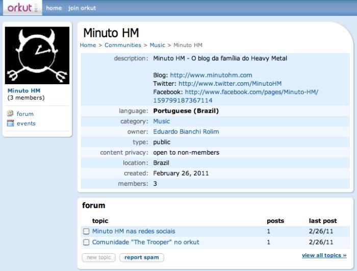 """Torne-se membro da comunidade """"Minuto HM"""" no orkut!"""
