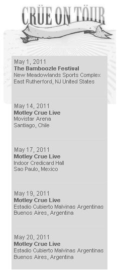 Site do Mötley Crüe em 11/março/2011