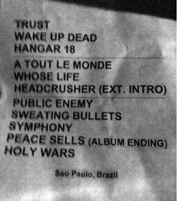 Setlist Megadeth SWU - 14nov2011