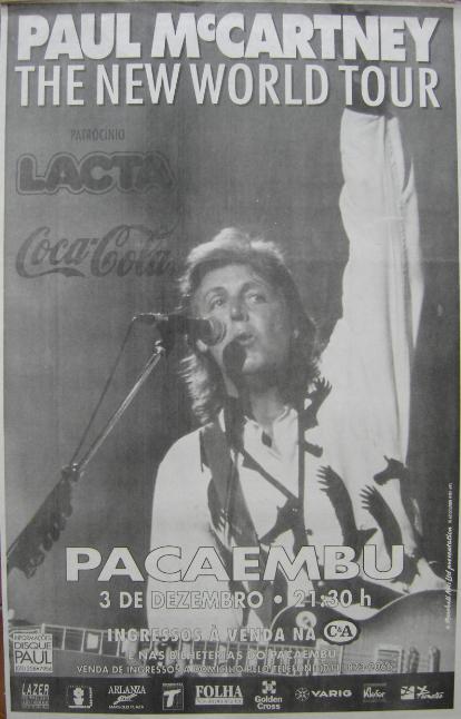 """Anúncio do show (Folha de São Paulo) - a imagem também foi usada na capa de uma das diversas edições de """"Paul Is Live"""" em DVD"""