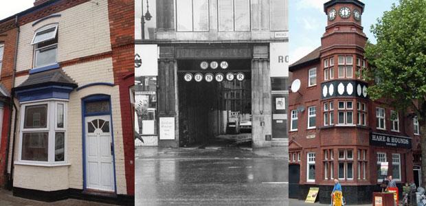 Birmingham, Inglaterra: casa do Ozzy Osborne na Aston Street; o antigo nightclub Rum Runner, na Broad Street e o pub e casa de shows com arquitetura vitoriana, o The Hare and Hounds