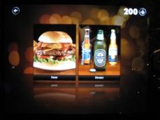 Opções de lanches e bebidas pelo iPad