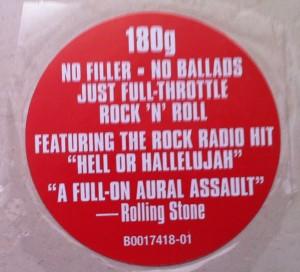 ** O selo que vem no Vinil de Monster destaca a ótima regularidade do disco