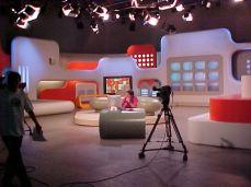 O maior estúdio da emissora sendo usado pela atração Mion
