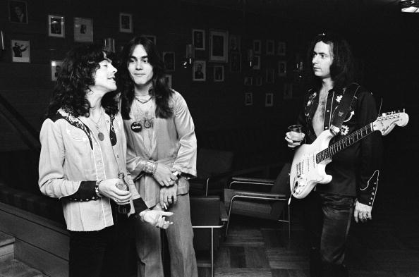 DENMARK - JANUARY 01: Photo of RAINBOW; Rainbow - Jimmy Bain Tony Carey Ritchie Blackmore, Copenhagen, Denmark. 1976 (Photo by Jorgen Angel/Redferns)