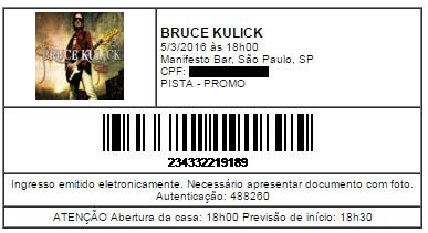Ingresso - Bruce Kulick - SP - 05mar2016