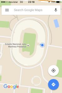 Estádio Nacional e meu local aproximado na arquibancada
