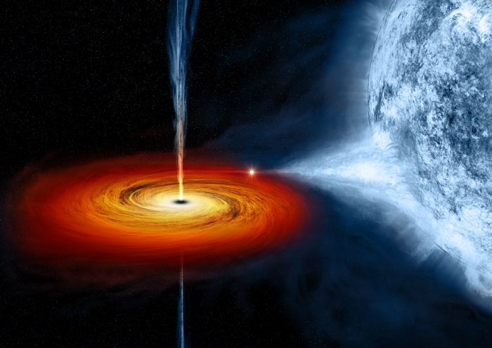 On the left, an optical image from the Digitized Sky Survey shows Cygnus X-1, outlined in a red box. Cygnus X-1 is located near large active regions of star formation in the Milky Way, as seen in this image that spans some 700 light years across. An artist's illustration on the right depicts what astronomers think is happening within the Cygnus X-1 system. Cygnus X-1 is a so-called stellar-mass black hole, a class of black holes that comes from the collapse of a massive star. New studies with data from Chandra and several other telescopes have determined the black hole's spin, mass, and distance with unprecedented accuracy.
