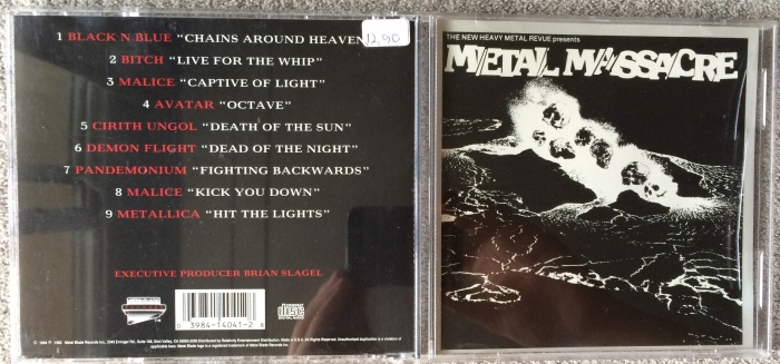 Capa e contra-capa do Metal Massacre americano em CD (1994)
