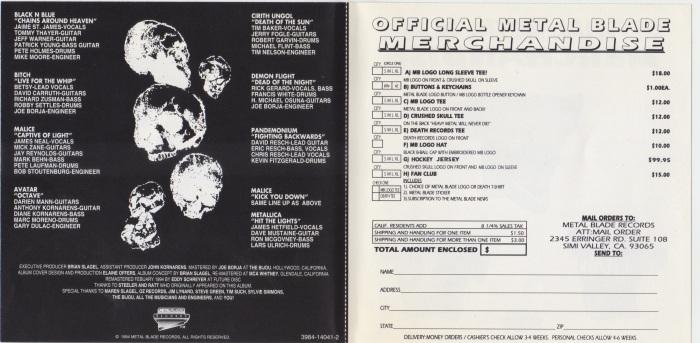 Metal Massacre americano em CD (1994) - o encarte com os detalhes das músicas